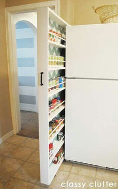 DIY Hidden storage: canned food storage cabinet. This amazing photo collections about DIY Hidden storage: canned food storage cabinet is available to Home Organization, Home Projects, Space Savers, Interior, Small Apartments, Diy Storage, Apartment Needs, Home Diy, Food Storage Cabinet