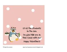 Male penguin treat topper for Valentine's from a male teacher!