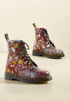 March Through Manhattan Leather Boot in Floral Medley in 7, #ModCloth