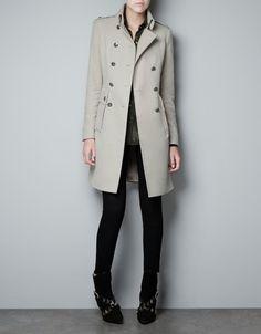 VELVETON MILITARY COAT - Coats - Woman - ZARA United States