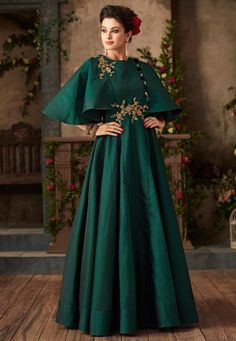 Buy Embroidered Taffeta Silk Gown in Teal Green Online Taffeta Dress, Silk Gown, Indian Gowns, Pakistani Dresses, Designer Gowns, Indian Designer Wear, Victorian Gown, Western Gown, Gown Pattern