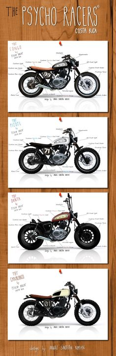 Psycho Racer : The Cariblanco : Custom Motorcycles ( Suzuki GN 125 and SuzukiGN 250 ) Design story Beautiful machines with character, style . Cg 125 Cafe Racer, Cafe Racer Bikes, Cafe Racer Motorcycle, Motorcycle Tips, Suzuki Cafe Racer, Brat Bike, Cafe Bike, Motorcycle Design, Blitz Motorcycles