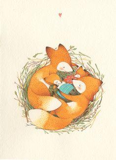 Сообщество иллюстраторов | Иллюстрация Катя Гончарова - Семейное счастье. Графика. Акварель