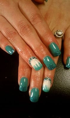 Turquoise and bling by cindygnails - Nail Art Gallery nailartgallery.nailsmag.com by Nails Magazine www.nailsmag.com #nailart