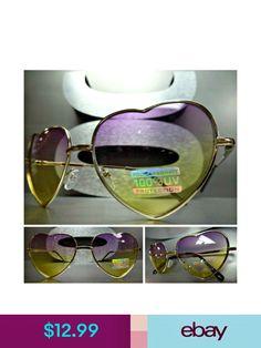 55da7878693 VINTAGE 80 s RETRO Style HEART SHAPED SUNGLASSES Gold Frame Purple   Yellow  Lens