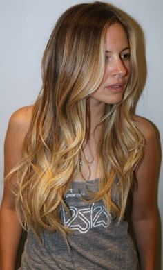 Ombre hair color look with highlights in the front, beautiful.