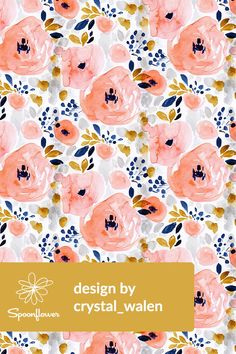 Genevieve Floral by crystal_walen - Hand painted florals in pink, mustard, blue, and gray on fabric, wallpaper, and gift wrap. Beautiful hand painted watercolor florals in a soft whimsical style with scattered berries and leaves. Pink, navy, mustard, gray, and peach floral pattern in a hand painted watercolor pattern. Perfect for brightening a room with a wallpapered accent wall or making DIY throw pillows to add a floral pop to your sofa. #floral #flowers #handpainted #painted #fabric #art