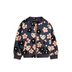 Grey summer jacket with flowers - Mini Rodini