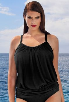 199f17002b  Valentine s Day Sale!  EnvyWe  SwimsuitsForAll -  Tropiculture Black  Blouson Tankini Top