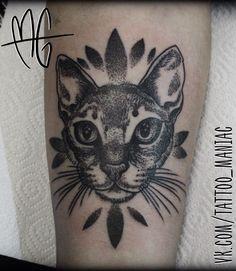 graphic and dotwork cat tattoo