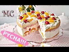 Pyszny Tort Jogurtowy z Malinami i Morelami – Zapraszam na pyszny, lekki tort jogurtowy z owocami. Jest bardzo smaczny, na jednym kawałku nie można... Yogurt Cake, Food Cakes, Vanilla Cake, Cake Recipes, Raspberry, Cheesecake, Food And Drink, Make It Yourself, Healthy