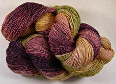 Burgundy Bronze Hand-dyed Superwash Merino/Lurex Yarn by yarnwench