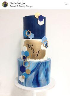 Modern geometric marbled blue gold