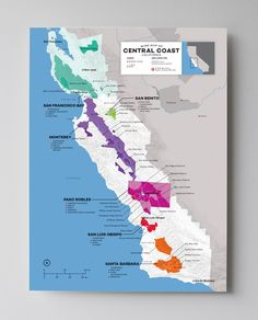 Central Coast–Bottled sunshine All the way down the coast from San Francisco to Santa Barbara you'll find some of California's most prodigious, and most undiscovered wine regions. This map has been up