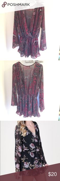 Long Sleeved Romper Altar'd State Long Sleeved Romper, Size Large, paisley print, flowy sleeves, ruffle detail around bottom. Romper slips on. Looks cute with bralette and wedges! (Model shown is wearing different print just to show the fit) Altar'd State Other