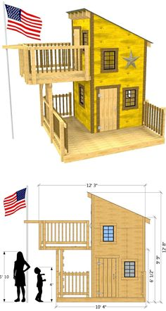 A two level, wooden clubhouse with a upper balcony and trap door, as well as a fire pole exit. A lower porch provides more play area, and the window openings are fitted for 18 x 21 glass shed windows Tiny House Cabin, Tiny House Design, Cubby Houses, Play Houses, Shed Windows, Backyard Playground, Building A Shed, Shed Plans, Trap Door