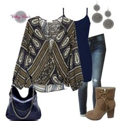Set includes 3 items: Navy & Olive Paisley Blouse, Navy Nylon Tank, and Circle Earrings. Retails separately for $71. Fits: Small 2/4, Medium 6/8, Large 10/12 Click Here for Jeans Click Here for Shoes