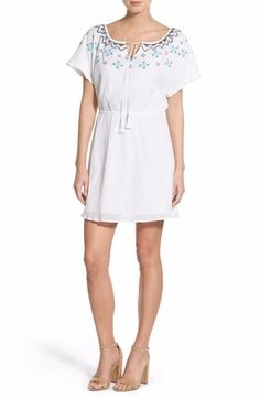 cupcakes and cashmere Nona Embroidered Cotton Dress Size Small $118 FTC #3796