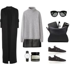 turtle neck jumper + long coat + leather snake print skirt + minimal watch + nikes