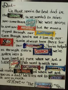 My version of the candy letter! Homemade Birthday Gifts, Daddy Birthday Gifts, Homemade Fathers Day Gifts, Diy Gifts For Dad, Diy Father's Day Gifts, Father's Day Diy, Dad Gifts, Birthday Games, Birthday Ideas