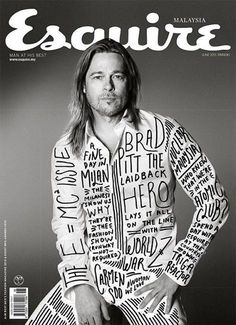 Esquire Malaysia used the original photo of Brad Pitt from US Esquire and added some sweet type stuff Magazine Front Cover, Magazine Cover Design, Magazine Covers, Cool Magazine, Male Magazine, Editorial Layout, Editorial Design, Brad Pitt, Magazin Design
