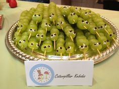Caterpillar Kebobs were a huge hit. I really look for ways to encourage a good amount of healthy snacking at home and at parties. These cute little guys really paid off. The kids love them and the tray was empty by the end of the party. I just used bamboo shishkebob skewers put the grapes on sideways and added the eyes by using mini chocolate chips and a little frosting.