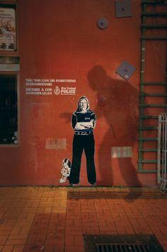 m&c saatchi otis frizzell street art stencil collage NZ police auckland 4