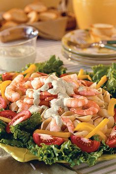 Shrimp Pasta Salad with Green Goddess Dressing - Easy Pasta Salad Recipes - Southernliving. Creamy herb-infused Green Goddess Dressing is the star of this salad. We used yellow bell peppers