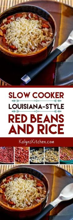 Slow Cooker  Louisiana-Style Red Beans and Rice is a favorite recipe I've been making for years, and it's dairy-free, gluten-free, low-glycemic, and South Beach Diet Phase Two. [found on KalynsKitchen.com]
