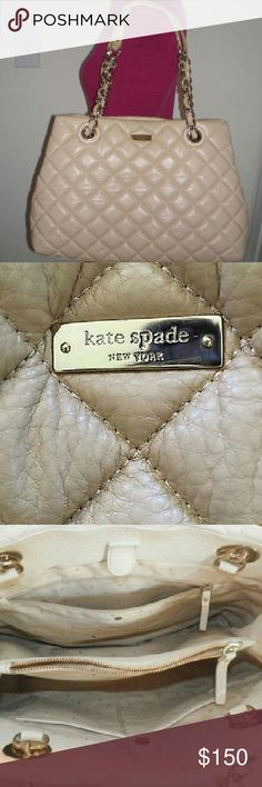 """KATE SPADEGold Coast Quilted Maryanne Shoulderbag Item Description  Selling this adorable Large Gold Coast Quilted Shimmer Maryanne Kate Spade purse.? I only used it for about a month. Great beige color that goes with everything! Cute, classic style.? Handles have 8"""" drop so it's very comfortable to wear on your shoulder.? Two large open compartments with a zip compartment in the middle. Clean insides.  Condition: Gently used  Note:?One bottom corner of the purse has some wear. kate spade…"""