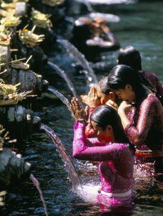 Young Women at Tirta Empul Temple Ubud Region Island of Bali Indonesia Southeast Asia