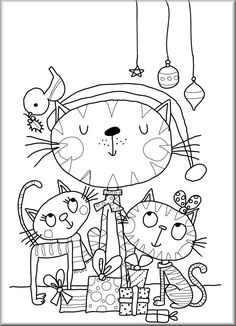 Cat Coloring Page, Coloring For Kids, Free Coloring, Adult Coloring Pages, Coloring Sheets, Coloring Book Pages, Doodle Drawings, Cute Drawings, Cat Cards