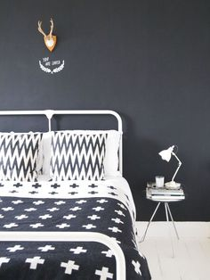 black and white graphical bedroom