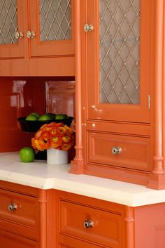 Two Tone Kitchen Cabinets Ideas Concept, with modern door design and painted with combining color like in this images picture, Modern minimalis orange Kitchen Cabinet set (recommended picture)