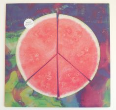 watermelon peace sign & Record sleeve. Love seeing food art cross genres.