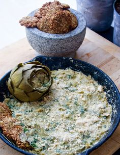 Vegan, Paleo Artichoke Spinach Dip and Seeded Chips