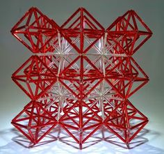 Truss model of perovskite (or fluorite/antifluorite) structure by Bih-Yaw Jin Family Day Activities, Roof Trusses, Geometric Star, Inspirational Artwork, House Roof, Bead Art, Sacred Geometry, Bead Weaving, Beaded Jewelry