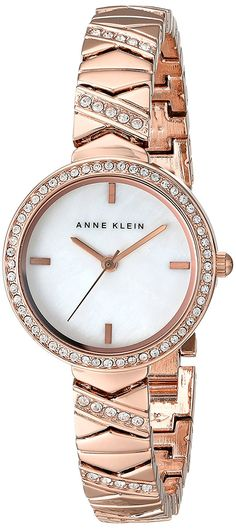 Anne Klein Women's AK/1798MPRG Swarovski Crystal Accented Rose Gold-Tone Bracelet Watch *** Click on the image for additional details.