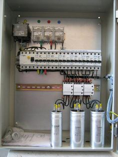 Capacitor units for reactive power compensation Power Lineman, Tehnologie Electrical Panel Wiring, Electrical Circuit Diagram, Electrical Plan, Electrical Projects, Electrical Installation, Electronics Projects, Diy Electronics, Electronic Engineering, Electrical Engineering