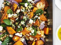 Toasted pistachios and preserved lemon add crunch and interest to this roast pumpkin, feta and chickpea salad. #salads #recipes