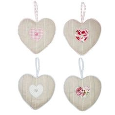 Country Style Shabby Chic Lavender Hanging Hearts, Pink or Blue, Natural Linen www.prettymaison.co.uk 01353 665141
