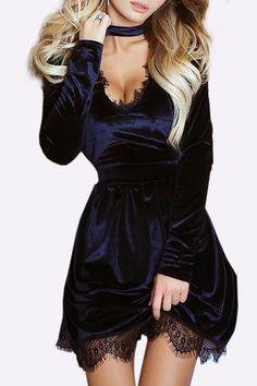 Black Casual Velvet V-neck Lace Hem Tight-waist Dress with belt