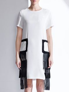 Shop White Short Sleeve Crew Neck H-line Midi Dress Online. The world's most-coveted and unique  designer apparel - Sexyplus everyday.