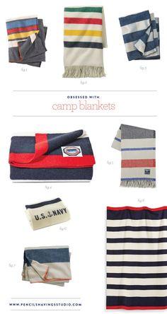 Obsessed with camp blankets - wool stripe blankets - www.pencilshavingsstudio.com