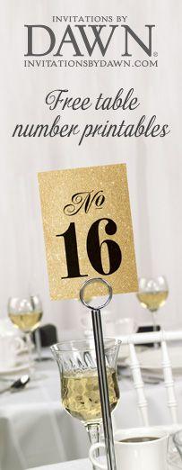 Free Wedding Table Number Printables