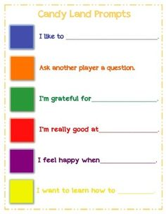 Self-Esteem Prompts for Candy Land free. we could do social skills prompts instead of self-esteem Self Esteem Activities, Counseling Activities, Group Counseling, Elementary School Counseling, School Social Work, School Counselor, Elementary Schools, Coping Skills, Social Skills