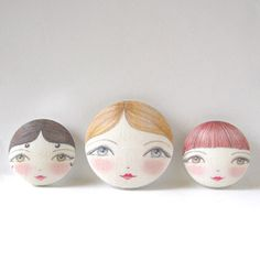 Designer Sewing Buttons  Doll Face Cloth Buttons by zouzoudesign,