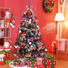 7 Ft Green Pine Prelit Clear Lights Christmas Tree Only w Stand >>> You can find out more details at the link of the image.