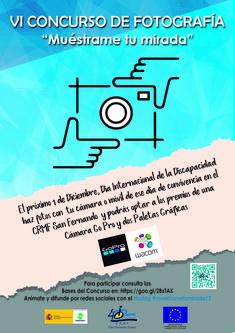 """Cartel del VI Concurso """"Muéstrame tu mirada"""" creado por el alumno del #Crmfsf, Sergio Castañeira"""