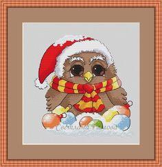 Gallery.ru / Фото #1 - Новогодняя птица счастья. - efimova2016 Cross Stitch Owl, Cross Stitch Charts, Cross Stitching, Christmas Cross, Christmas Ornaments, Teddy Bear, Sewing, Happy, Pattern